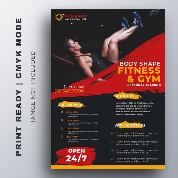 Modèle de création de flyer d'entraînement pour fitness, gym Vecteur Premium