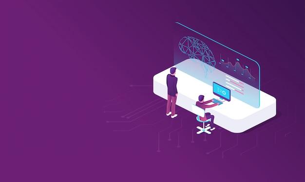 Modèle avec création d'intelligence artificielle Vecteur Premium