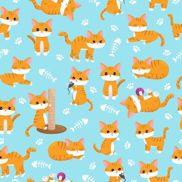 Modèle de crèche sans soudure enfant. jolis chats au gingembre kawaii avec des pattes et des arêtes de poisson. personnage de dessin animé Vecteur Premium