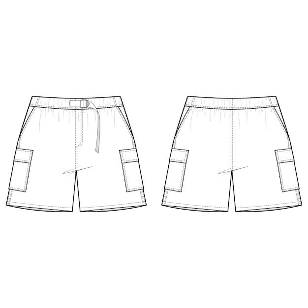 Modèle de croquis plat mode pantalons courts Vecteur Premium