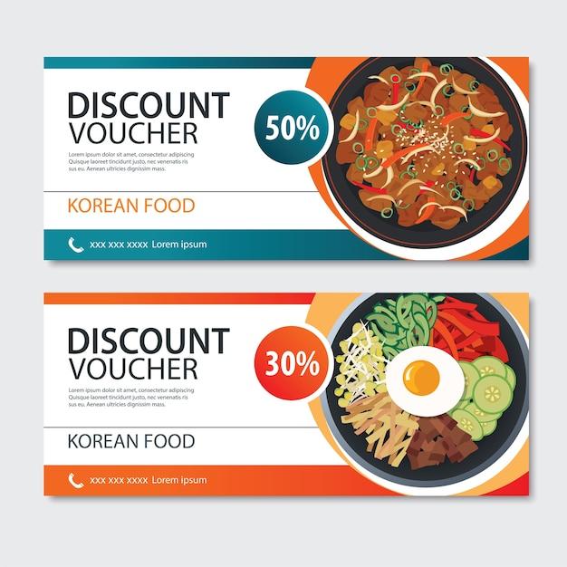 Modèle De Cuisine Asiatique De Bon De Réduction. Ensemble Coréen Vecteur Premium