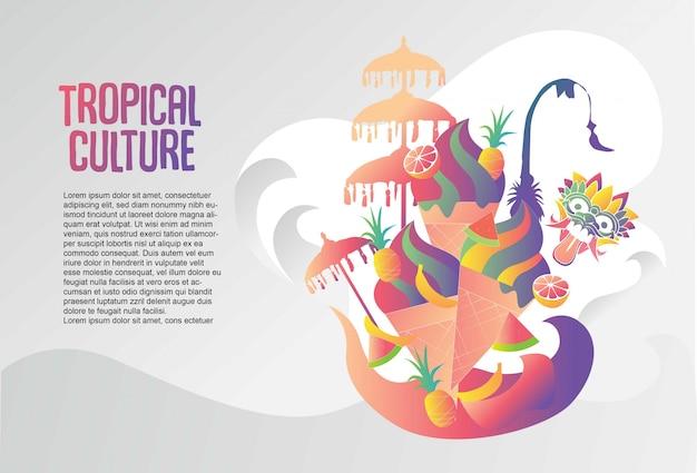 Modèle de culture tropicale bali gelato Vecteur Premium