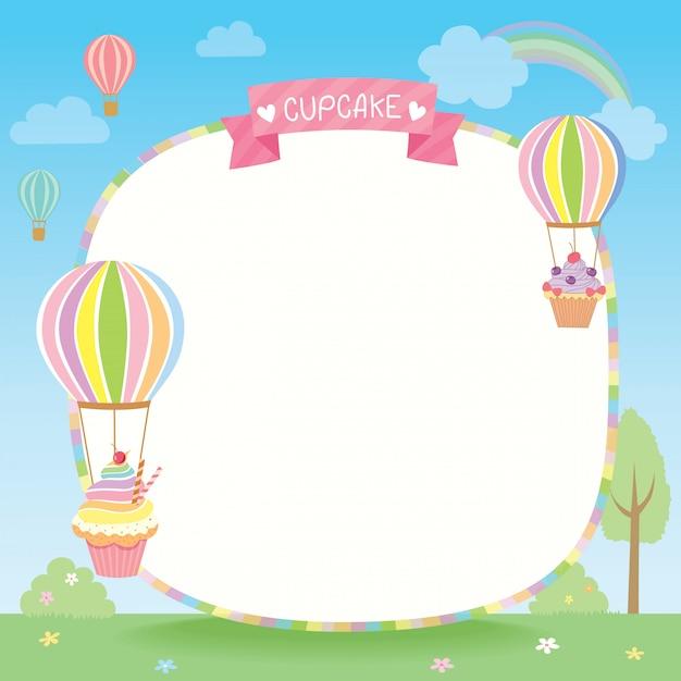 Modèle de cupcakes ballon Vecteur Premium