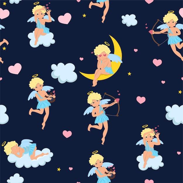 Modèle Avec Cupidons, Coeurs, Nuages Et étoiles. Graphiques Vectoriels Vecteur Premium