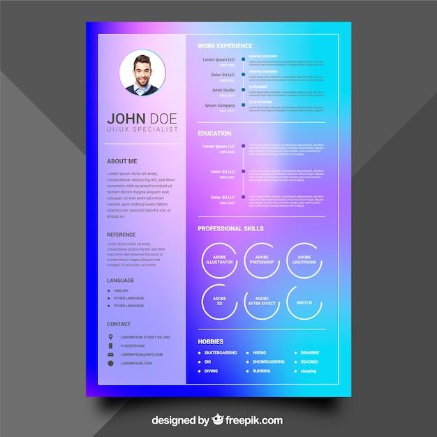 mod u00e8le de curriculum color u00e9 avec un design plat