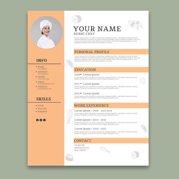 Modèle De Curriculum Vitae Culinaire Vecteur gratuit