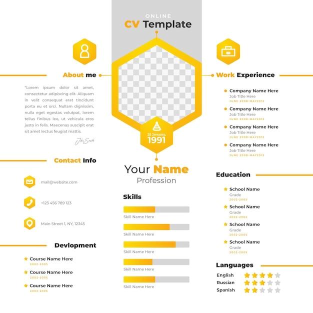 Modèle De Curriculum Vitae En Ligne Avec Un Design Jaune Vecteur Premium
