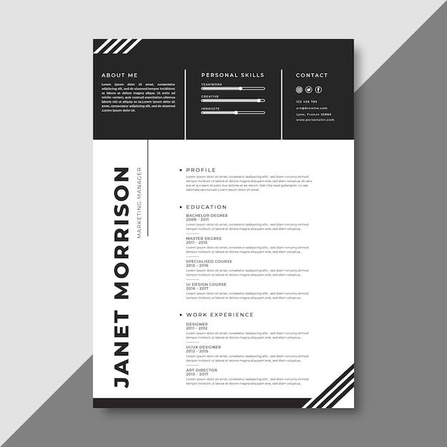 Modèle De Curriculum Vitae Minimaliste Vecteur gratuit