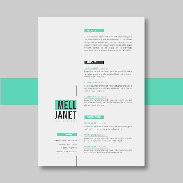 Modèle De Curriculum Vitae Vert Pastel Minimaliste Vecteur gratuit