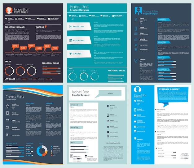 Modèle De Cv D'entreprise, Curriculum Vitae. Illustration De L'ensemble De Documents De Cv Vecteur Premium