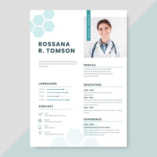 Modèle De Cv Médical Vecteur gratuit