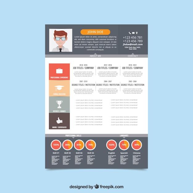 mod u00e8le de cv moderne avec  u00e9l u00e9ments infographiques
