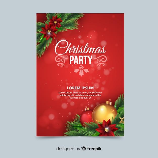 Modèle d'affiche de décoration de fête de Noël fête Vecteur gratuit