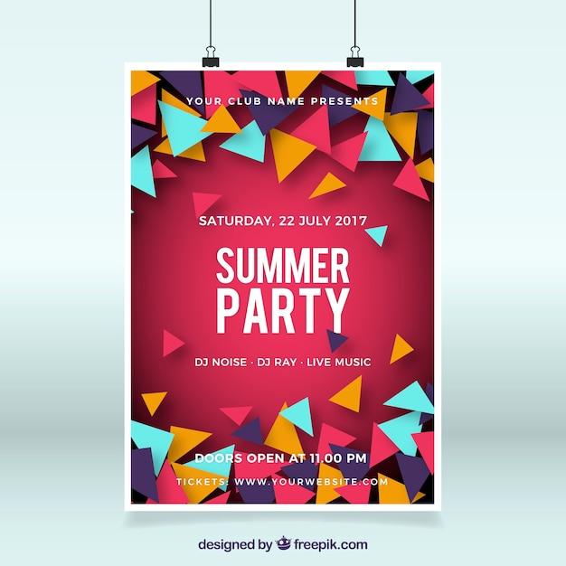 Modèle d'affiche de fête d'été Vecteur gratuit