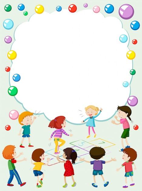 mod u00e8le de bordure avec les enfants jouant de la marelle