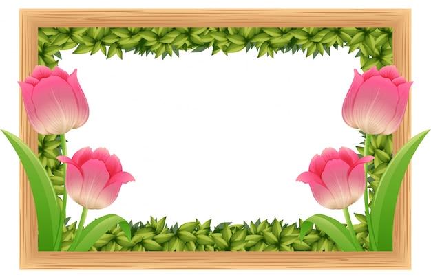 mod u00e8le de cadre avec des fleurs de tulipe rose