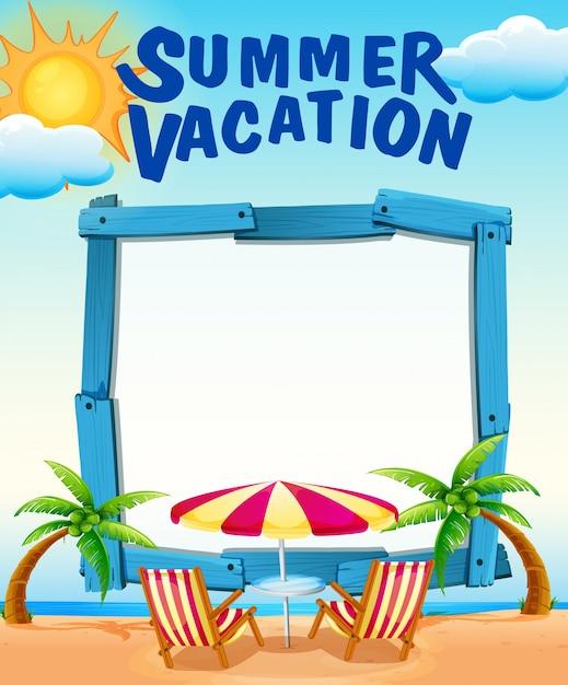 Modèle de cadre avec des vacances d'été sur la plage Vecteur gratuit