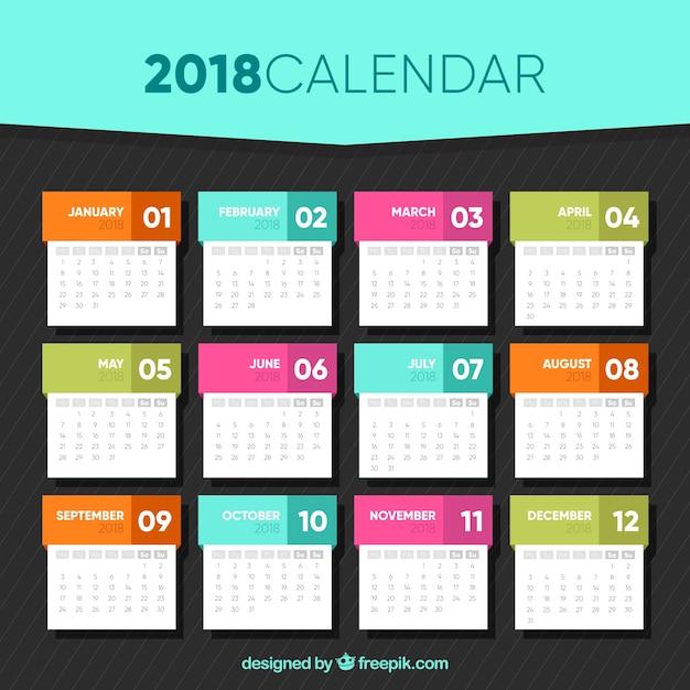 Modèle de calendrier 2018 en conception plate ...