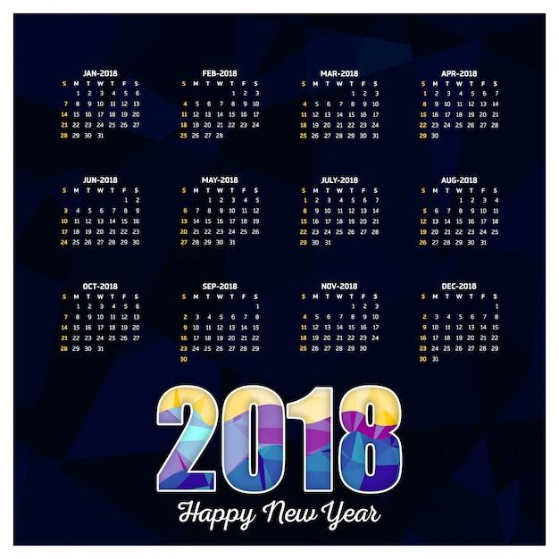 Mod le de calendrier 2018 r sum fond d 39 cran cr atif for Ecran photo 2018