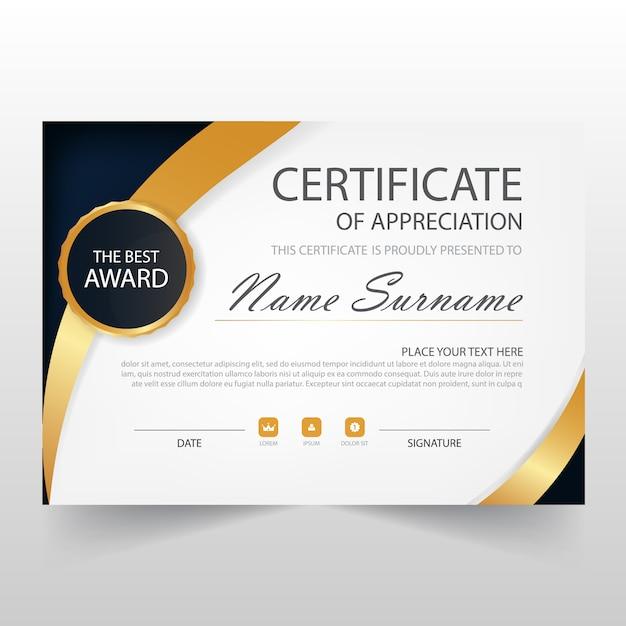 Modèle de certificat horizontal élégant Vecteur gratuit