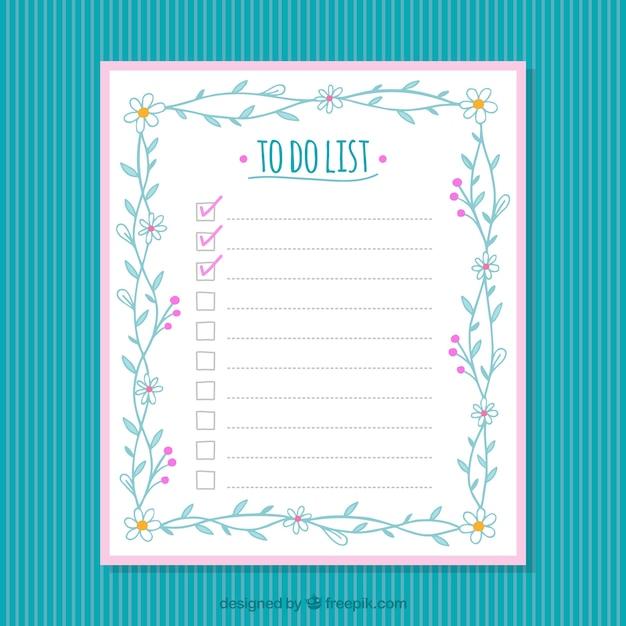 mod le de checklist avec d cor floral t l charger des vecteurs gratuitement. Black Bedroom Furniture Sets. Home Design Ideas