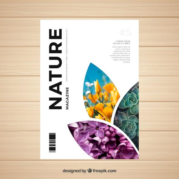 Modèle de couverture de magazine nature avec photo Vecteur gratuit