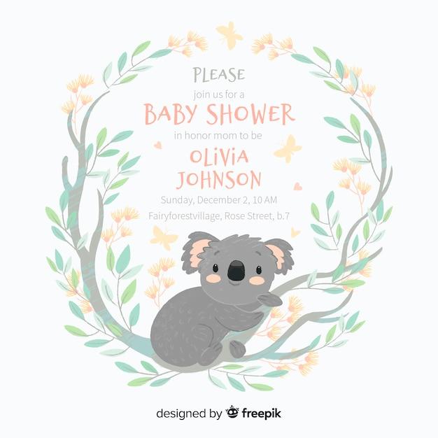 Modèle de douche de bébé mignon avec koala Vecteur gratuit