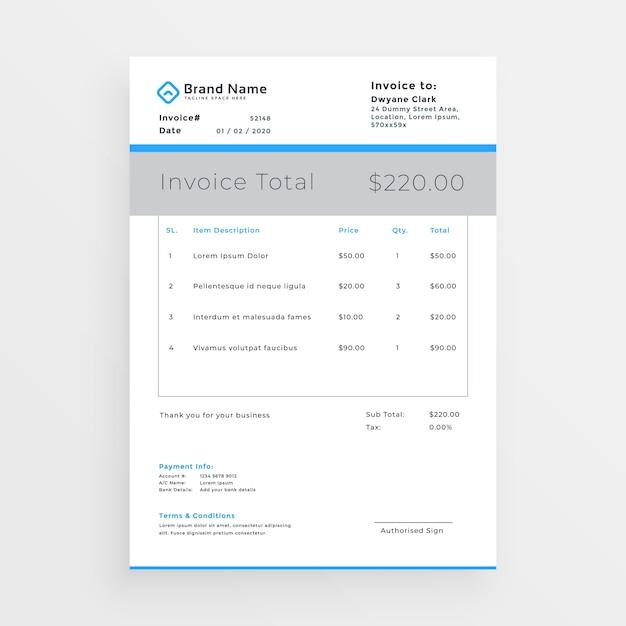 modèle de facture de style minimal design Vecteur gratuit