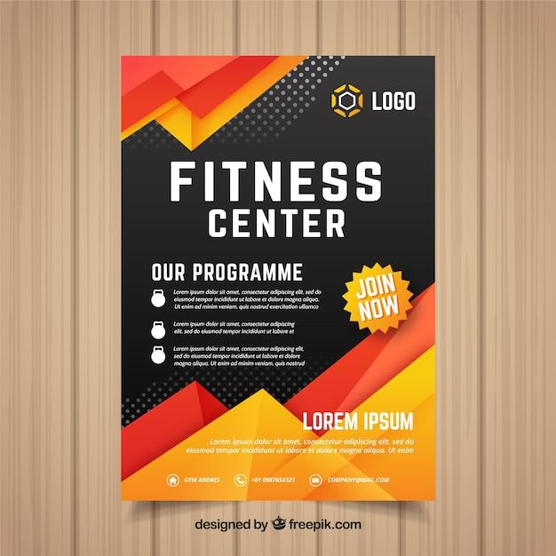 Modèle de flyer de gym moderne avec un design abstrait Vecteur gratuit