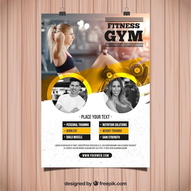 Modèle de flyer gym jaune et blanc Vecteur gratuit