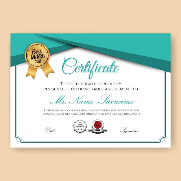 Modèle de fond de certificat vérifié moderne avec motif de couleurs turquoise Vecteur gratuit