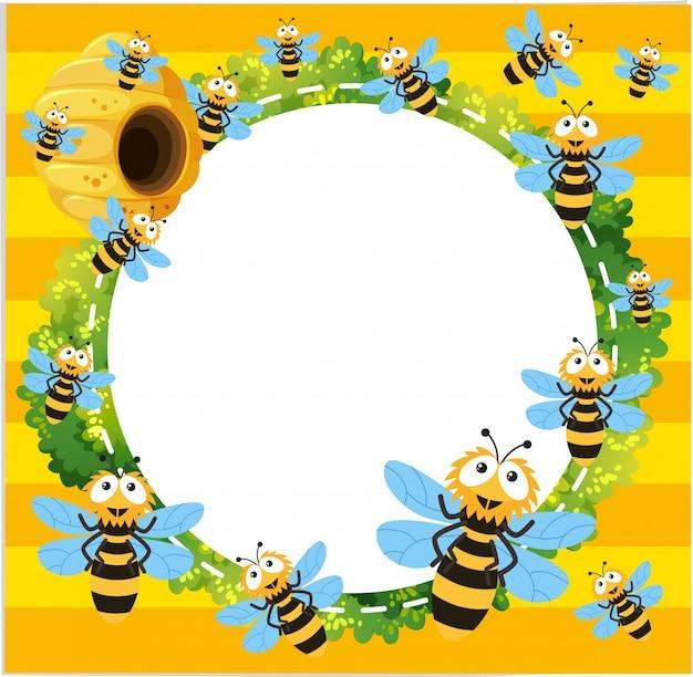 Modèle de frontière avec de nombreuses abeilles volant Vecteur gratuit