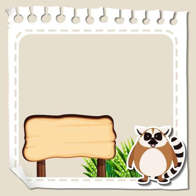 Modèle de frontière avec le lémurien Vecteur gratuit