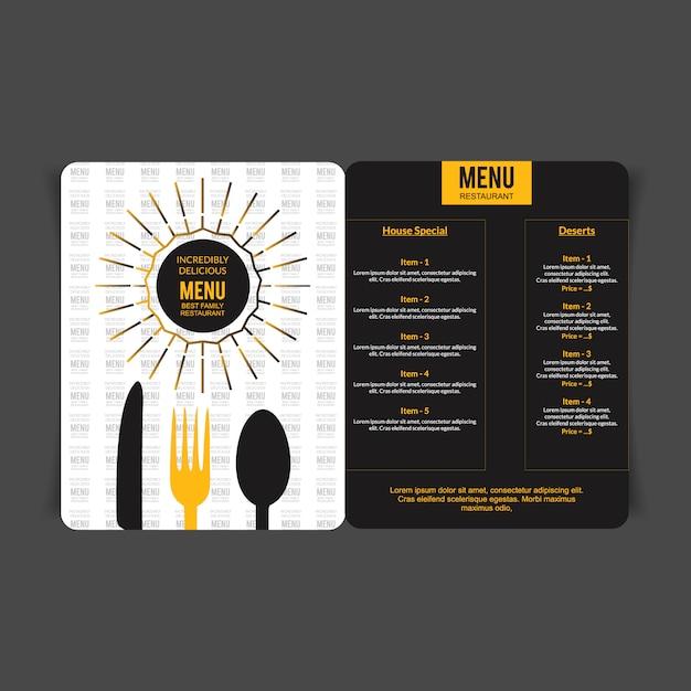 mod u00e8le de menu jaune et noir