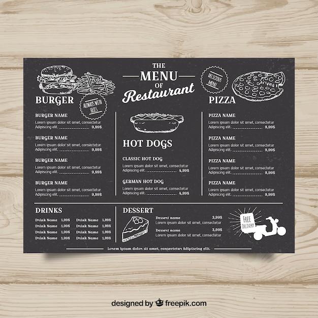 mod le de menu pour restaurant de restauration rapide dans le style tableau noir t l charger. Black Bedroom Furniture Sets. Home Design Ideas