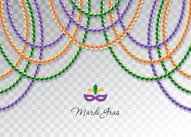 Modèle décoratif horizontal de guirlandes de perles de mardi gras. Vecteur Premium