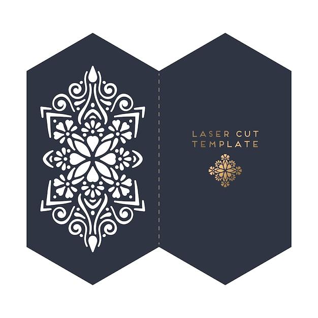 Modèle De Découpe Au Laser De Carte De Mariage De Vecteur Vecteur gratuit
