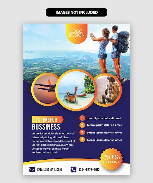 Modèle de dépliant de voyage Vecteur Premium
