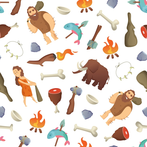 Modèle de dessin animé des hommes des cavernes Vecteur Premium
