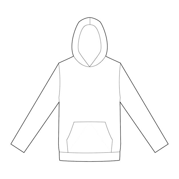 Modèle de dessin technique plat de mode hoody Vecteur Premium