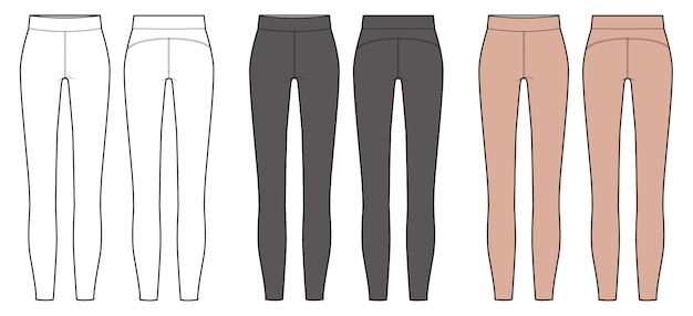 large sélection fabrication habile Excellente qualité Modèle de dessin technique plat pour leggings fashion ...