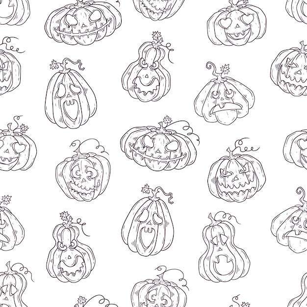 Modèle dessiné à la main avec des citrouilles d'halloween. Vecteur Premium