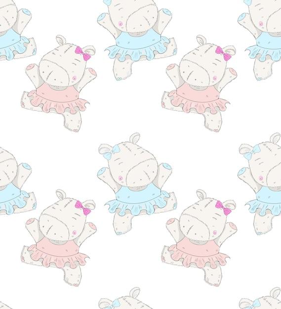 Modèle dessiné à la main de dessin animé mignon petit ballerine hippo Vecteur Premium