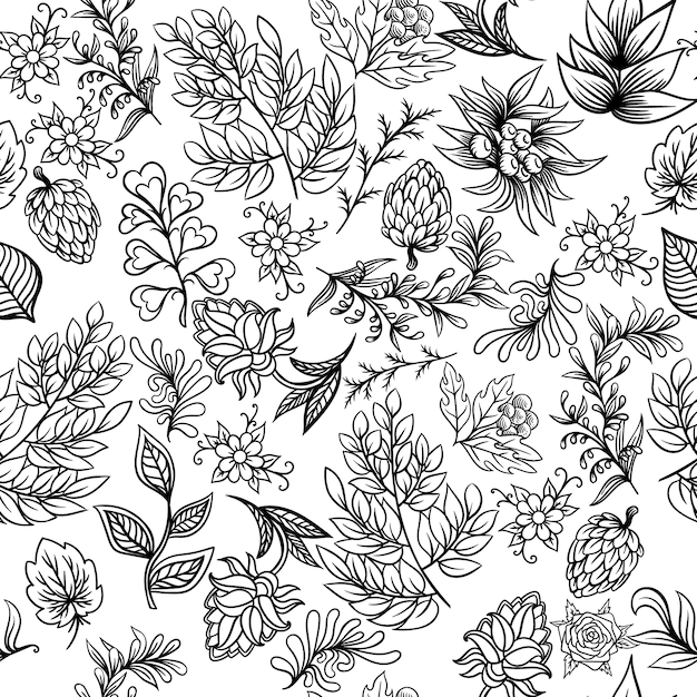 Modèle dessiné à la main avec des éléments de la nature scandinave abstraite. ensemble de vecteur de plantes et d'animaux. Vecteur Premium