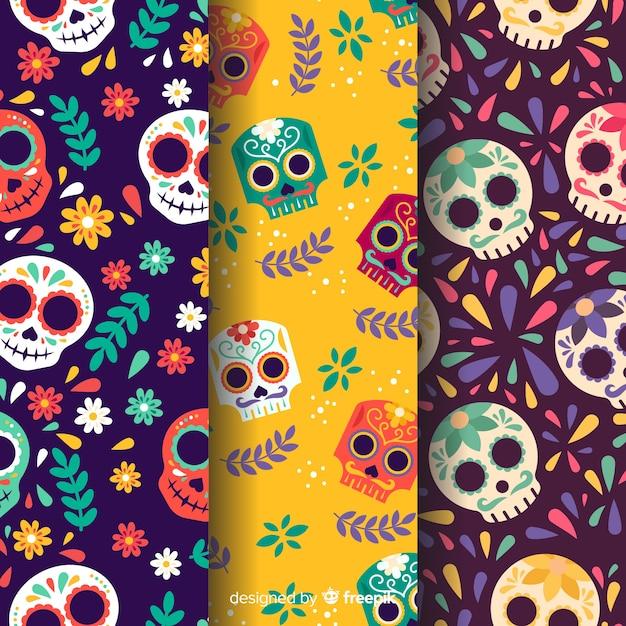 Modèle de dia de muertos design plat Vecteur gratuit