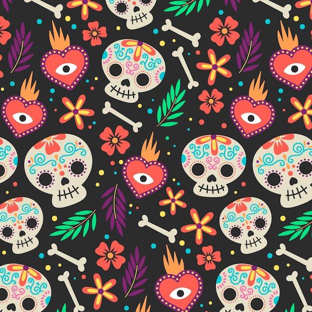 Modèle De Día De Muertos Dessiné à La Main Vecteur gratuit