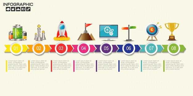 Modèle de diagramme en huit étapes Vecteur Premium