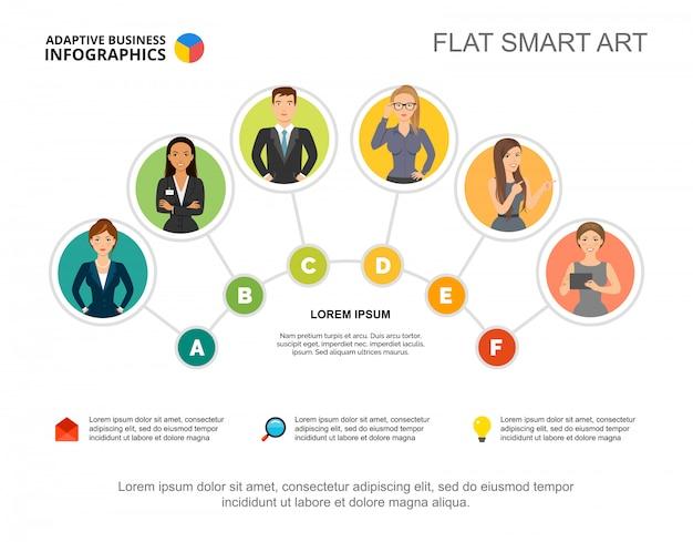 Modèle de diagramme de processus d'équipe de six travailleurs pour la présentation. visualisation des données d'entreprise. Vecteur gratuit