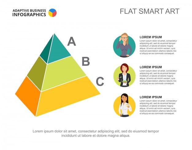 Modèle de diagramme de processus de pyramide à trois niveaux pour la présentation Vecteur gratuit