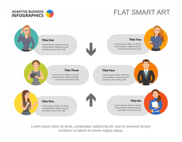 Modèle de diagramme de processus de six partenaires pour la présentation. données commerciales. Vecteur gratuit